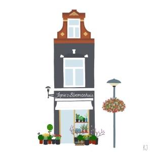 Illustratie Bloemenwinkel Jopies Bloemenhuis Kanaalstraat Lombok Utrecht illustrator Renske Jurriëns